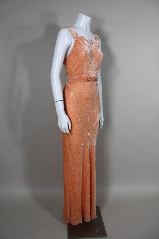 1930's Peach Burnout Silk Velvet Gown 4