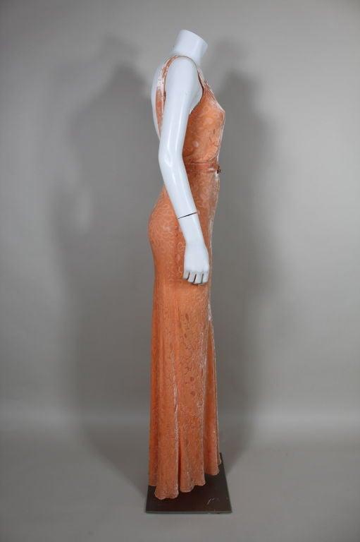1930's Peach Burnout Silk Velvet Gown 5