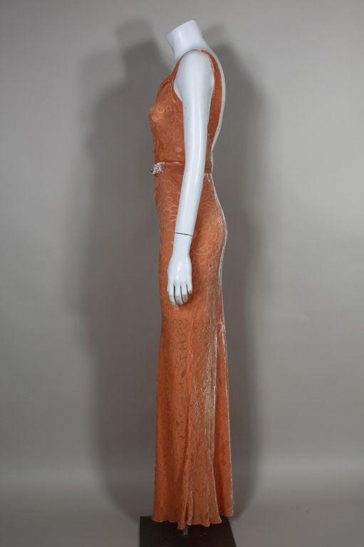 1930's Peach Burnout Silk Velvet Gown 6