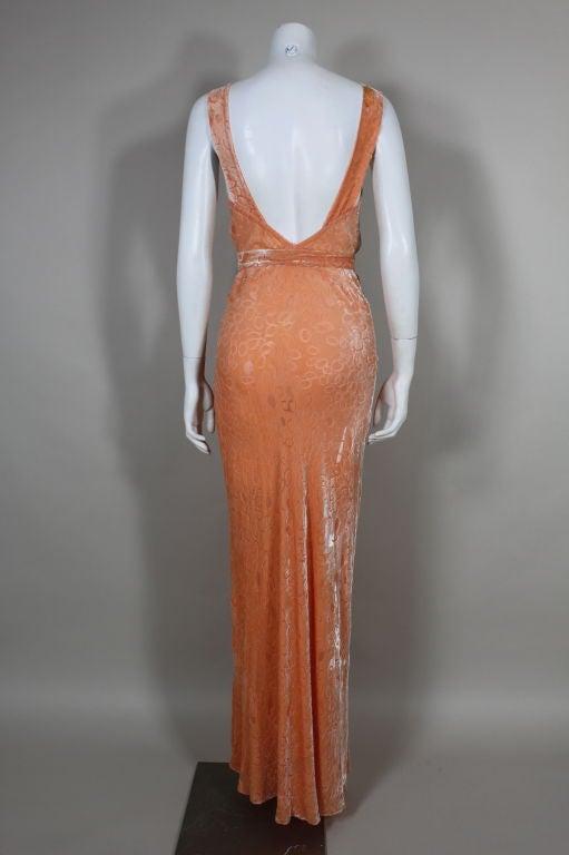 1930's Peach Burnout Silk Velvet Gown 7