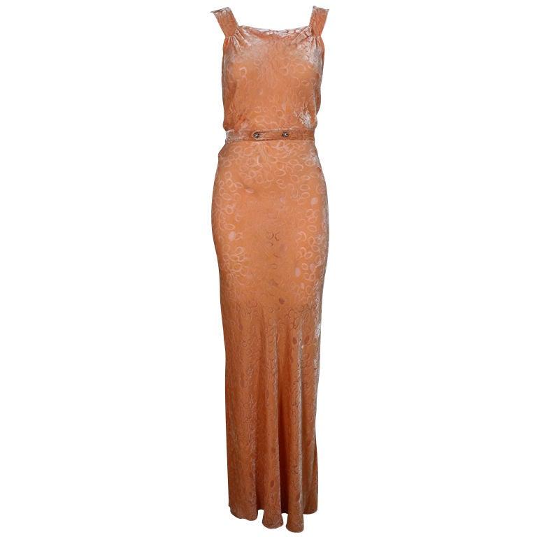 1930's Peach Burnout Silk Velvet Gown 1