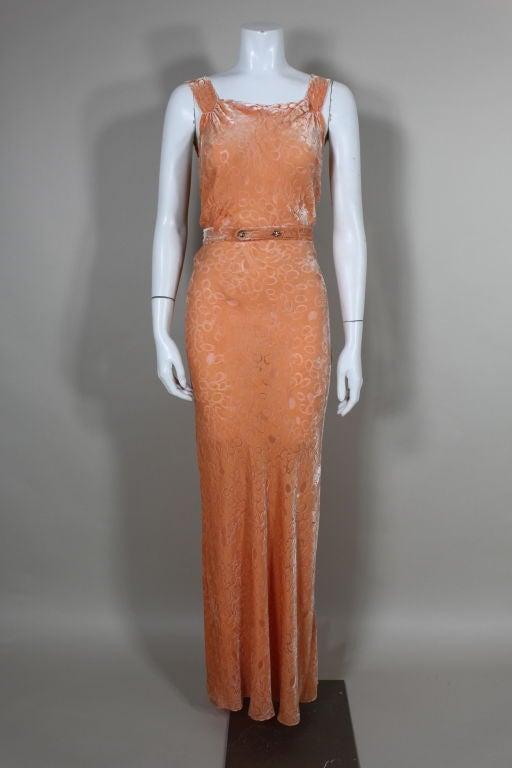 1930's Peach Burnout Silk Velvet Gown 2