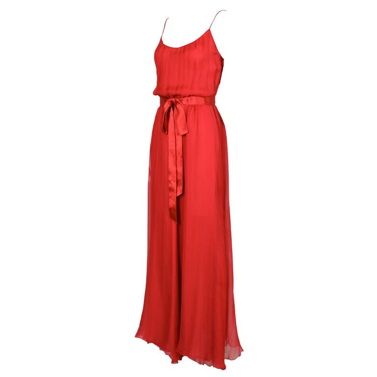 Chanel red silk chiffon belted gown at 1stdibs for Costume jewelry for evening gowns