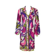 Pucci 1960s Psychedelic Floral Silk Dress