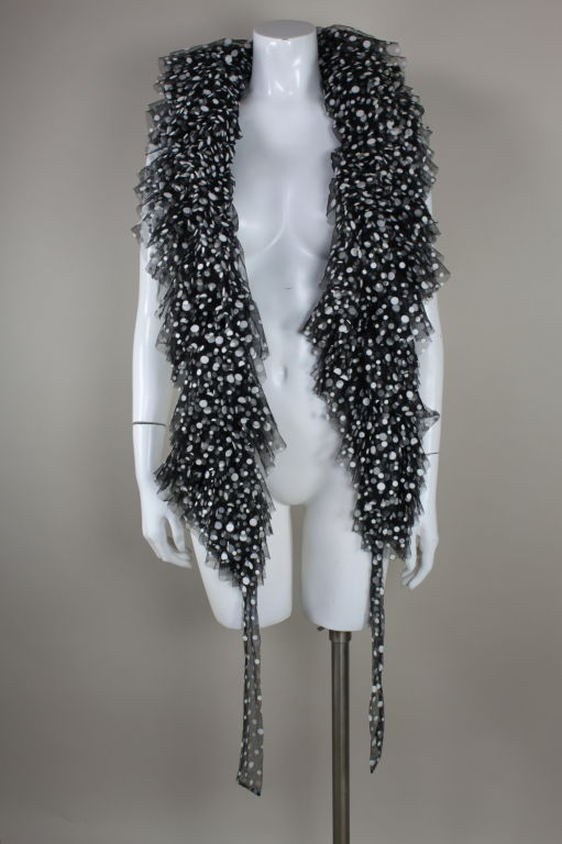 Bill Blass Ruffled Polka Dot Tulle Scarf 3
