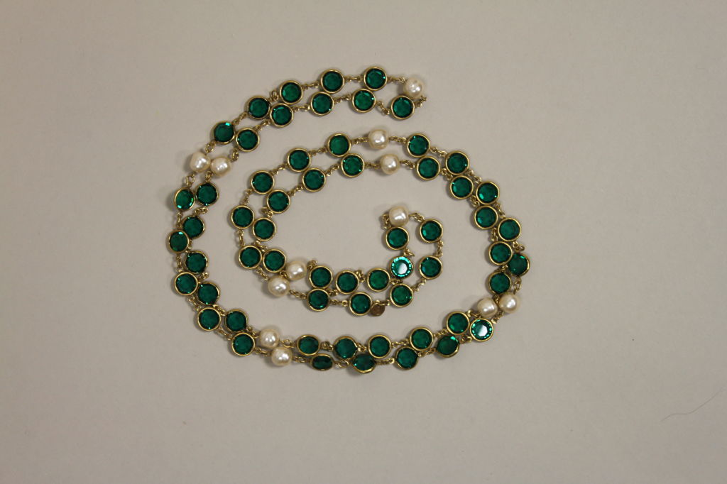 Chanel Pearl and Glass Chain Link Necklace 3