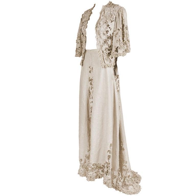 Edwardian Cotton Battenburg Lace Linen Walking Suit 1