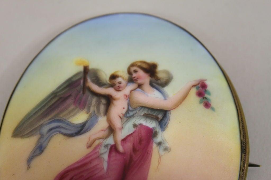 Victorian Handpainted Porcelain Nike Winged Victory Brooch 2