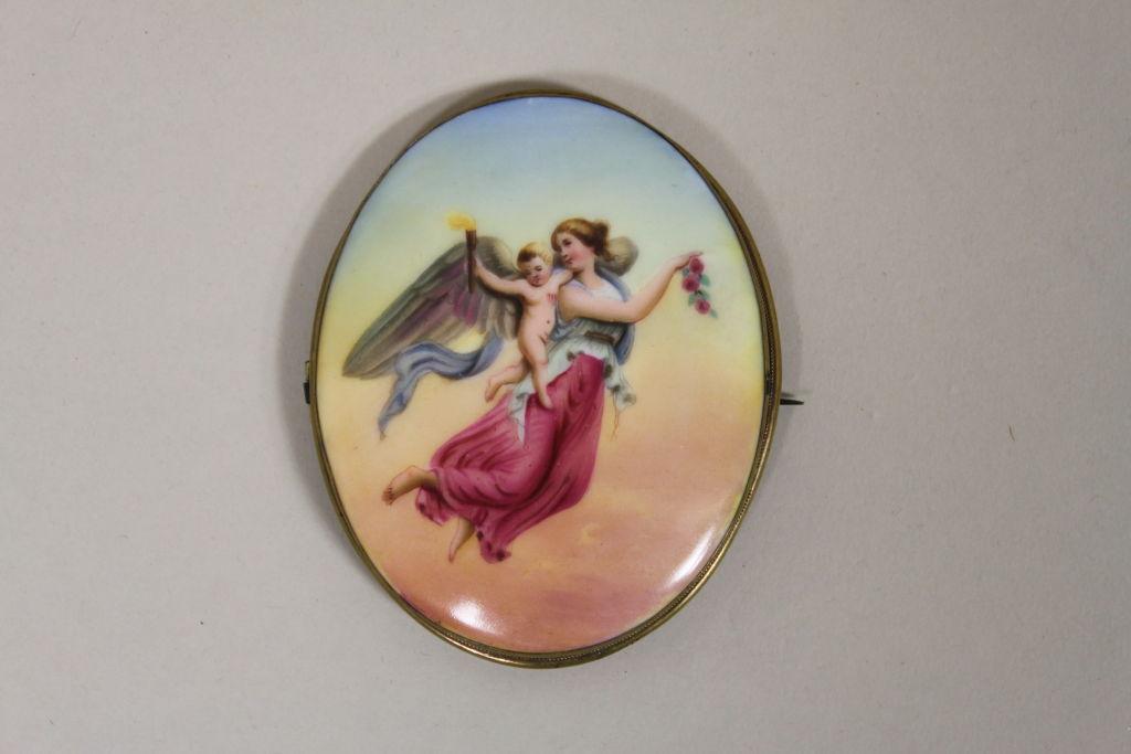 Victorian Handpainted Porcelain Nike Winged Victory Brooch 4