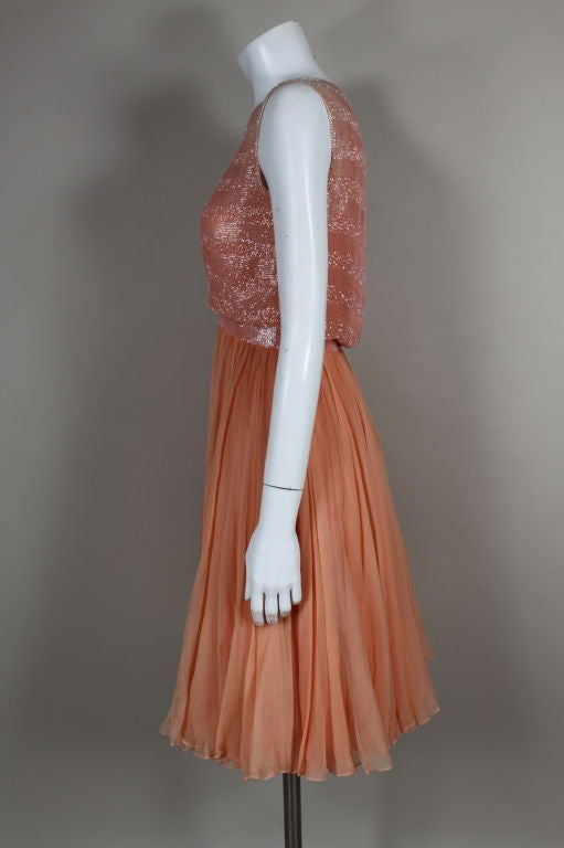 1960's Jean Louis Beaded Chiffon Cocktail Dress 4