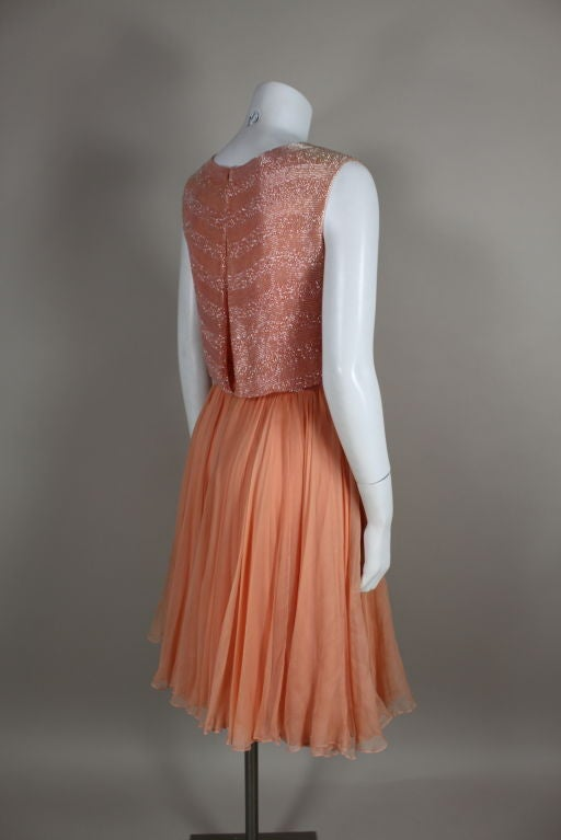 1960's Jean Louis Beaded Chiffon Cocktail Dress 5