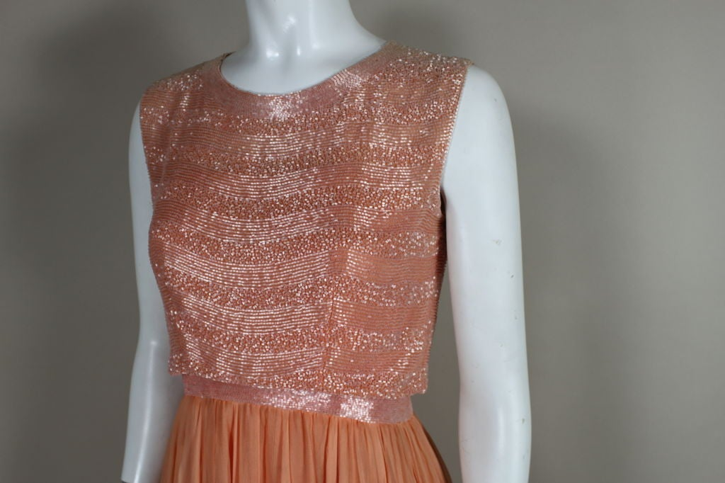1960's Jean Louis Beaded Chiffon Cocktail Dress 6
