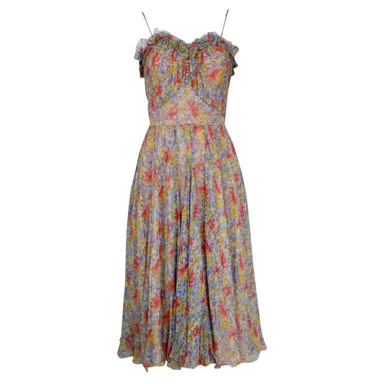 1930's Floral Chiffon Garden Party Dress at 1stdibs