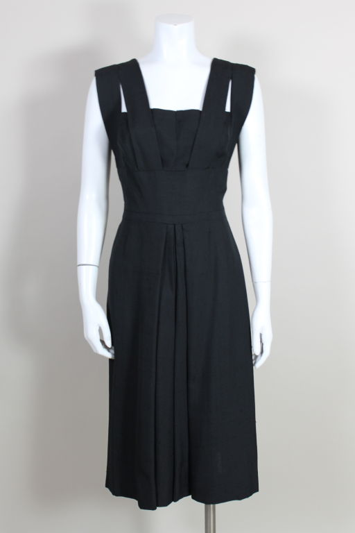 1940s Adrian Black Linen Cocktail Party Dress 2
