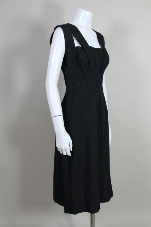 1940s Adrian Black Linen Cocktail Party Dress 3
