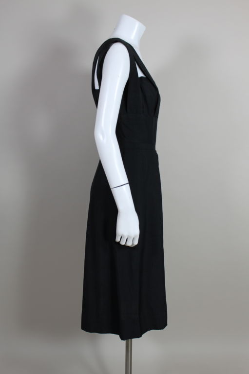 1940s Adrian Black Linen Cocktail Party Dress 4