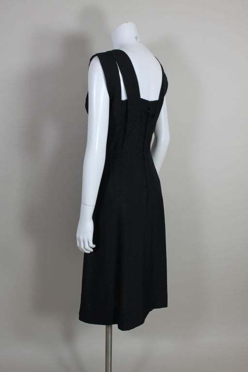 1940s Adrian Black Linen Cocktail Party Dress 5