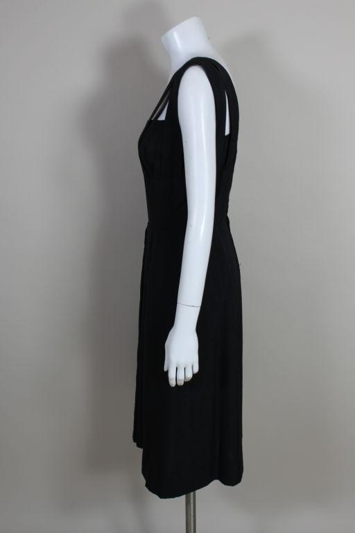 1940s Adrian Black Linen Cocktail Party Dress 6