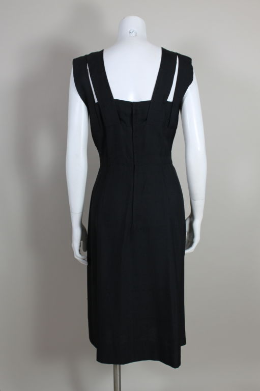 1940s Adrian Black Linen Cocktail Party Dress 7