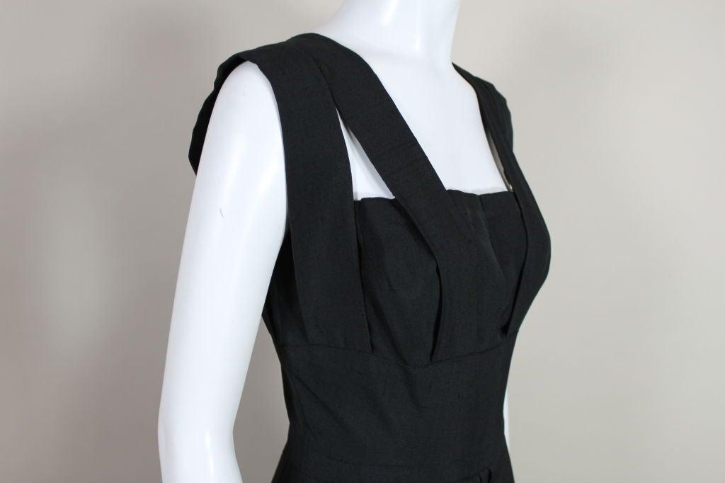 1940s Adrian Black Linen Cocktail Party Dress 8