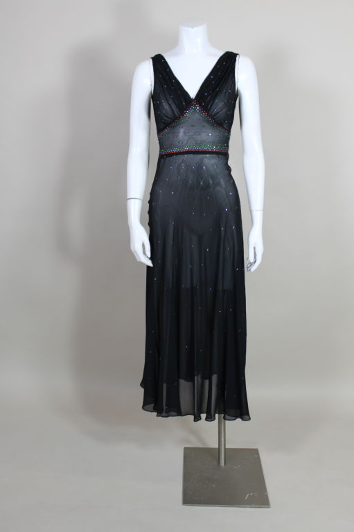 1940's Rhinestone Studded Chiffon Gown 2
