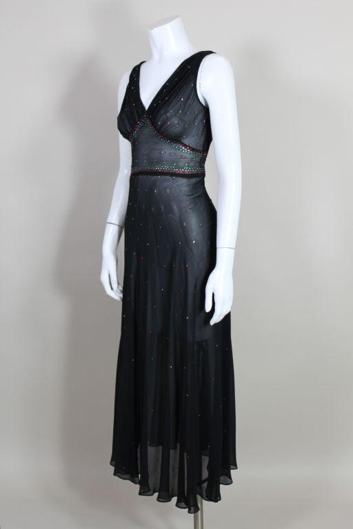 1940's Rhinestone Studded Chiffon Gown 3