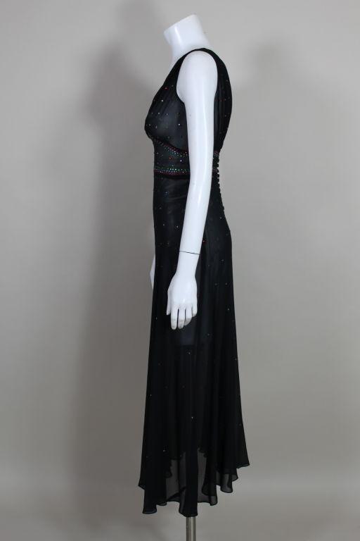 1940's Rhinestone Studded Chiffon Gown 4