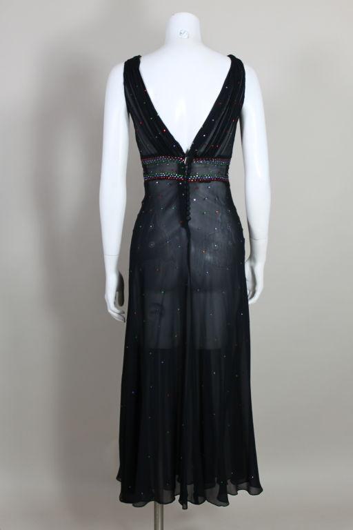 1940's Rhinestone Studded Chiffon Gown 5
