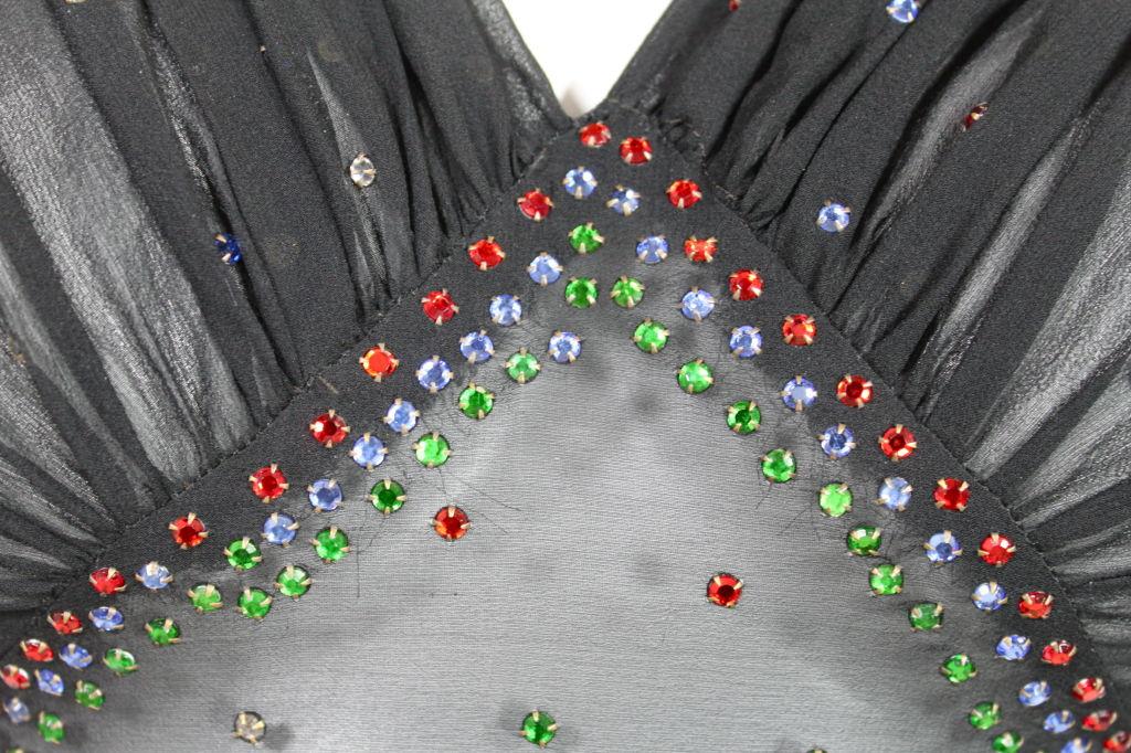 1940's Rhinestone Studded Chiffon Gown 8
