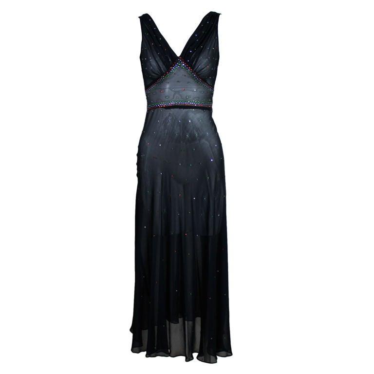 1940's Rhinestone Studded Chiffon Gown 1