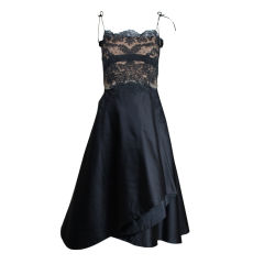 Irene 1950s Black Lace and Satin Cocktail Dress