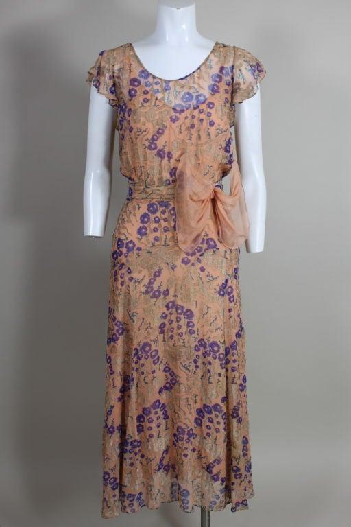 1920's Pastel Floral Lamé Chiffon Gown 2