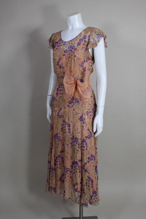 1920's Pastel Floral Lamé Chiffon Gown 3
