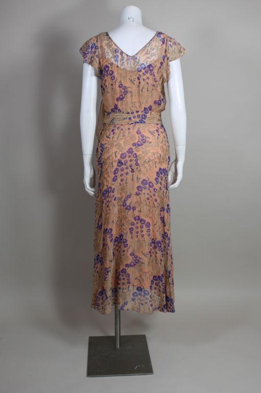 1920's Pastel Floral Lamé Chiffon Gown 4
