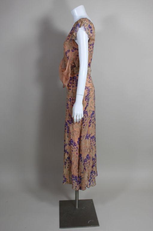 1920's Pastel Floral Lamé Chiffon Gown 5
