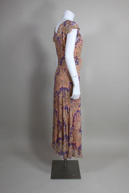 1920's Pastel Floral Lamé Chiffon Gown 6