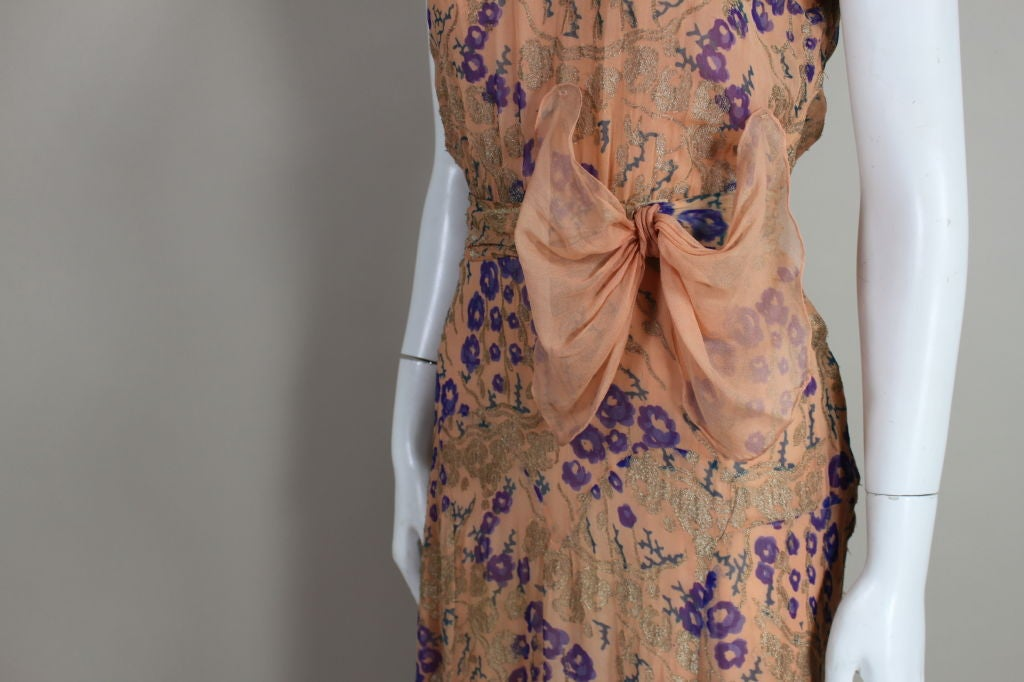 1920's Pastel Floral Lamé Chiffon Gown 7