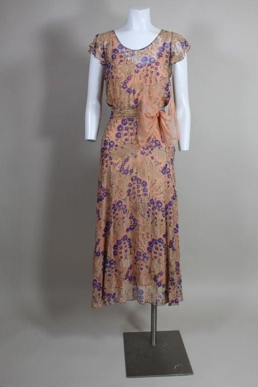 1920's Pastel Floral Lamé Chiffon Gown 9