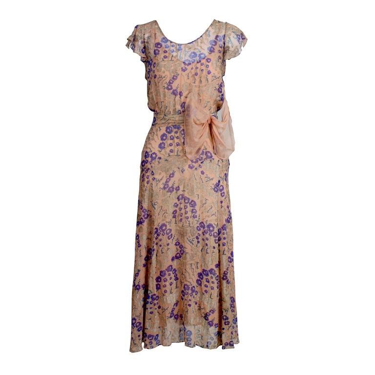 1920's Pastel Floral Lamé Chiffon Gown 1