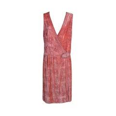 1920s Beaded Peach Silk Velvet Party Dress