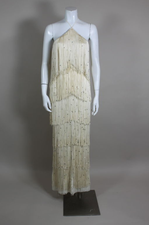 1970's Richeline Rhinestone Fringed Jersey Gown image 2