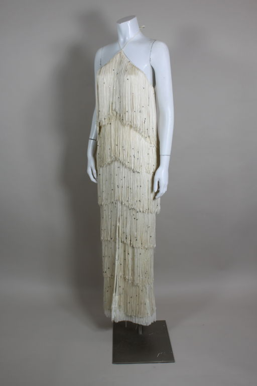 1970's Richeline Rhinestone Fringed Jersey Gown image 3