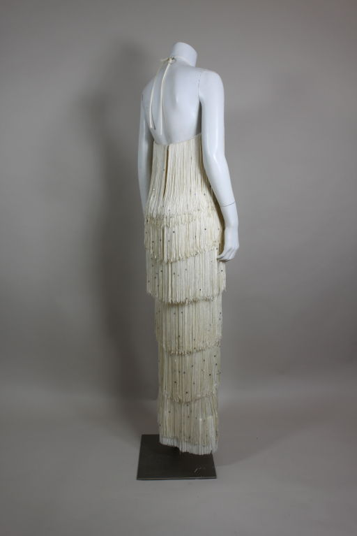 1970's Richeline Rhinestone Fringed Jersey Gown image 5