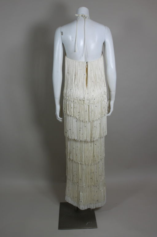 1970's Richeline Rhinestone Fringed Jersey Gown image 6