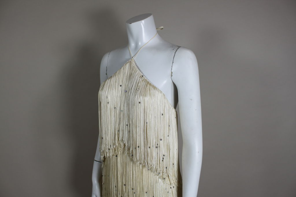 1970's Richeline Rhinestone Fringed Jersey Gown image 7