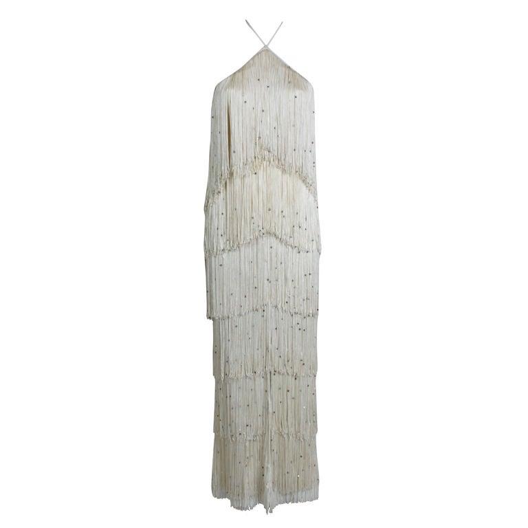 1970's Richeline Rhinestone Fringed Jersey Gown 1
