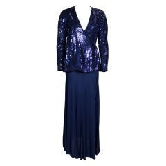 Stephen Burrows Midnight Blue Sequin Jersey Ensemble
