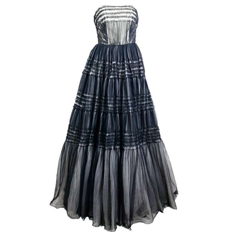 1950's Ruffled Tulle Strapless Ball Gown 1
