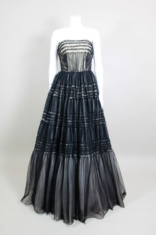 1950's Ruffled Tulle Strapless Ball Gown 2