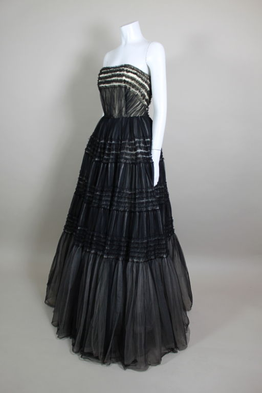 1950's Ruffled Tulle Strapless Ball Gown 3